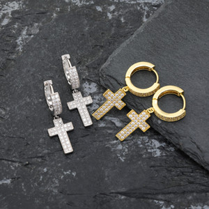 Luxury Charms Diamond Hip Earings Jewelry Iced Out Earrings Cross Earing Gold Stud Women Men Hop Rapper Hiphop Designer Bling Silver Ea Cgls