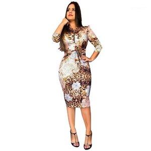 Elbise Moda Leopard Flora Baskılı Kalem Elbise withh Kemer Fermuar Boyun Günlük Elbise Lüks Designer Womens