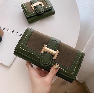 handbag new punk long vintage matte women wallet folding multi-card personalized rivet leather clutch bag