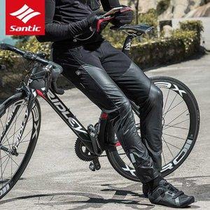 Santic 2020 Invierno Ciclismo Pantalones de lana a prueba de viento caliente termal de ciclo al aire libre Correr Fleece Pantalones Asiático Negro