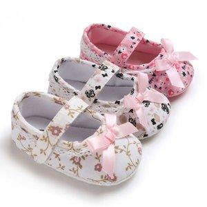 Todddler новорожденной Новорожденных девочки принцесса обувь Детские Малыш первых Ходунки Хлопок Шпаргалка Цветочного Мягкий Soled противоскользящей обувь для девочек