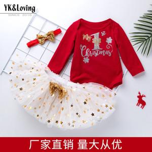 Tailleurs Bébés filles de Noël Set Vêtements de barboteuses + tutu jupes + paillettes arc couvre-chef tout-petits bébés Princesse Costumes Vêtements X0923