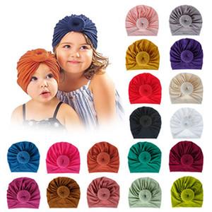 18 Renkler Bebek Donuts hairbands Knited Şapka Bantlar Elastik Turban Katı Şapkalar Başkanı Wrap Saç Bandı Aksesuarlar IIA668