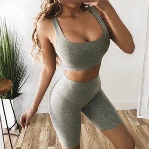 High stretch sleeveless U-collar jacket high-waisted shorts casual suit running fitness two-piece suit