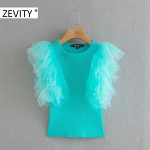 ZEVITY мода женщин о шее каскадных рюшей сетки лоскутной трикотажных рубашек леди бабочка рукав Блуза roupas шикарных топы LS7082