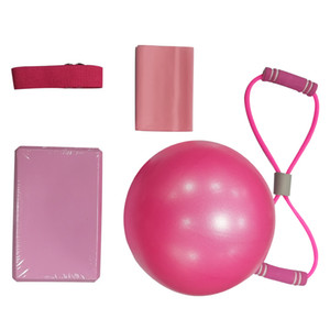 5 pcs sets Pilates Massage Ball Fitness Equipment Rubber Workout Crossfit Pull Up Resistance Bands Gym Training Yoga Block Hot