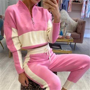 Trajes deportivos cremallera de la manera cuello alto suéter de diseño chándales femeninas manga larga con cordón Pantalones Conjuntos de dos colores con paneles de Mujeres