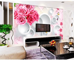 Custom Retail Rose 3D Stereo Circle TV Background Wall Fantasy Pink Rose Colorful Butterfly White Circle