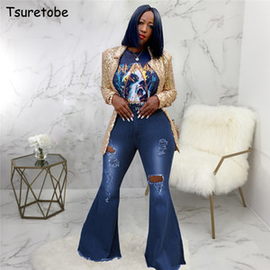 Tsuretobe Automne Taille Plus Flare Pantalons Jeans Ripped Mode taille haute Pantalon large jambe Casual-Bas Jeans de Bell Pantalons CX200821