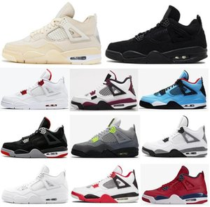 2020 Zapatos de baloncesto Rojo Fuego Hombres Nueva 4 4s neón París Negro Rasta gato raza pura Cemento dinero FIBA blanca pálida Citron zapatillas de deporte con la caja