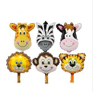 Животное Глава Balloon Мультфильм Алюминиевый фильм Шары Multicolor Прекрасный лес животных шар День рождения Свадьба украшения Детские игрушки CLS567