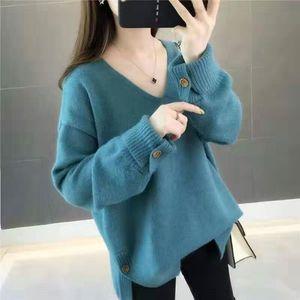 2020 otoño e invierno nuevo estilo flojo Pullover tenedor tenedor estilo V-neckKorean suéter flojo del suéter de las mujeres de la moda suéter manga larga dividida