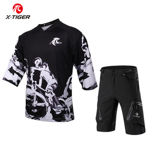 X-Tiger Middle Sleeve DH Shirt 100% Polyester Cycling Clothes Bike Set Breathable Quick-Dry Cycling Jerseys Downhill Jersey