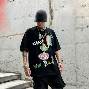 Cotone Animal Graffiti T shirt Uomo Casual maglietta Mens Graphic Tee shirt Stampa Moda O Neck T-Shir Tshirt Man