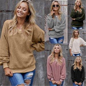 Kol Tee Tasarımcı Kadın Gevşek Casual Artı boyutu Tişört Giyim Kadınlar Katı Renk Triko T-shirt Moda Yuvarlak Yaka Uzun