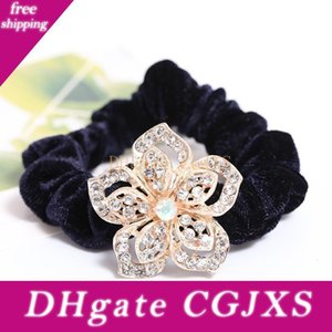 Corée Fleurs Mode Cristal Tissu velours élastique Hairband Ornements solides Poil Tails Porte-Coiffe