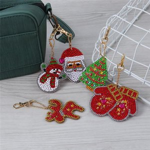 DIY Full Drill Special-Shape Diamond Painting Keychain Christmas Decor Bag Pendant Keychains Jewelry Key Ring Gifts OWC2391