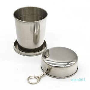 Portable Folding Cup 240ml Stainless Steel Outdoor Travel Camping Collapsible Mugs Metal Telescopic Keychain Cups LX3307
