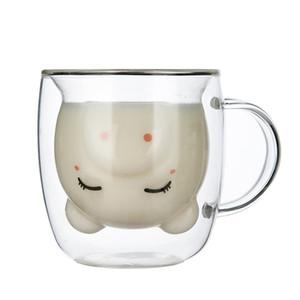 Anti-fokur çift cam kahve fincanı sevimli hayvan kupalar yaratıcı Amerikan sevimli domuz bardak ile 350ml karikatür domuz sütü kupa