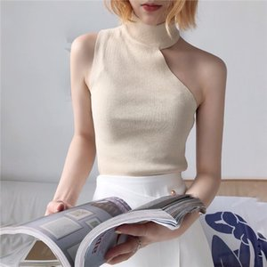 Knitted Sweater Off Shoulder Pullovers Sweater for Women Sleeveless Turtleneck Female Jumper Black White Beige Sexy Clothing