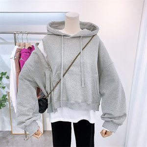 2020 Korean Street Zipper Hoodie Women Long Sleeve Quality Loose Plain Hooded Sweatshirt Female BF Style Cotton Hoodies Coat