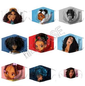 Afro Kızlar Yüz PM2.5 Filtre Yuvası Yıkanabilir Tekrar Kullanılabilir Çift Katmanlar Ağız Kapak 10pcs D81303 ile 3D Karikatür Baskı Tasarımcı Marka Maskeler Maske
