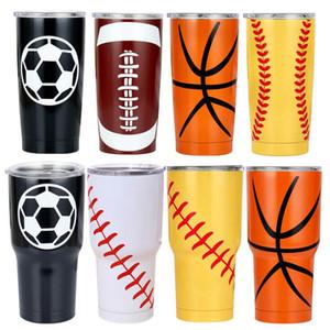 Tumblers Edelstahl Trinkflasche 30 Unzen Softball Tumbler Vacuum Thermos Kreativer Baseball-Car Cup Kaffeetassen Gläser Trinkgefäße DHD1009