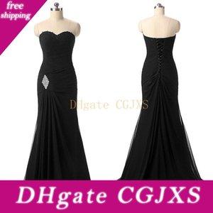 Graceful mousseline de soie Décolleté sirène robes de soirée avec Beadings Croisillon froncé robe de soirée noire robe de bal