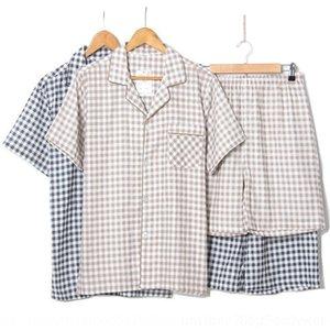 Y8NdZ oo2ty verano nuevo algodón de doble capa cortos de manga corta de los hombres de traje de gasa de tela escocesa de la casa de dos piezas sui doble capa nueva de hilo de algodón de verano