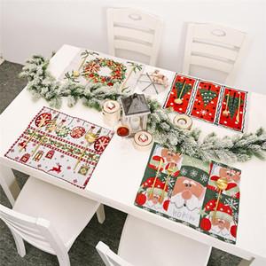 Mutfak Masa Dekorasyon DHE1230 Yemek için Yıkanabilir Tablo Yeri Mats Kış Tatil Placemat Noel Noel Baba Isıya Dayanıklı