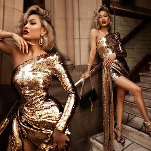 Glitter Sequins Gold Evening Dress Sexy One Shoulder High Split Short Party Dress Bling Slim Sheath Prom Dress 2020