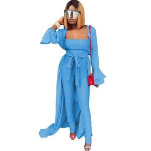 Мода Two Piece Set Женщина Flare рукав Длинного кардигана Trench Coat и без бретелек Комбинезона клуб 2 шт Matching Set нарядов поясов