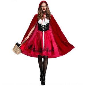 Цвет дегустация Хэллоуин Little Little Red Hat Red Riding Hood взрослого косплей одежда партии одежда горячей продажа