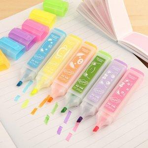 6 PC / Satz koreanisches Briefpapier highlighters Schöne Tier Süßigkeiten Farbe Markierstift Farben Material Büro Schulbedarf Canetas