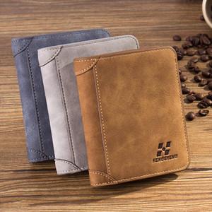 Hengsheng HOT alta qualidade Homens Carteiras Vintage PU nobuk Pele Curta Bolsa Marca Mens Três dobras carteira para Homem