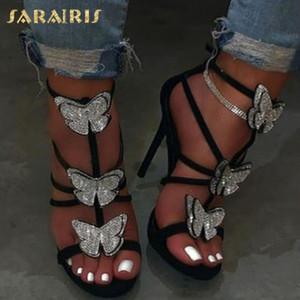Sarairis 2002 Tamanho Grande 42 Fetish Salto Alto Verão Sandals Shoes Cristais borboleta partido sexy sapatos de casamento Mulher