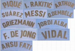 2020-2021 away F.DE JONG GRIEZMANN PIQUE ARTHUR SUAREZ MESSI O.DEMBELE VIDAL I.RAKITIC JORDI ALBA ANSU FATI nameset patch badge