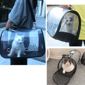Fashion Pet Dog Cat Carriers Bag Portable Dogs Transparent Backpack Breathable Outgoing Travel Packets Foldable Shoulder Handbag