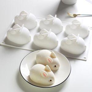 6 Holes Silicone Mold 3D Rabbit Shape Cake Mold Mousse Dessert Molds Bakings