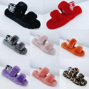 Yeni hav dilimleri evet tüy oh kabarık tüylü kadın terlik ayakkabı ile slaytlar terlik kürk sandale elastik kravat ugg women men kids uggs slippers furry boots slides