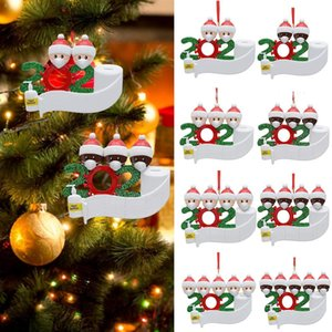 Christmas Ornament DIY Greeting 2020 Snowman With Mask Pandemic Xmas Tree Pendant Social Distancing Family Party Decoration