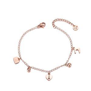Trendy Titanium Stainless Steel Heart Charm Bracelets For Women Bohemia Summer Chain & Link Bracelet Jewelry B19077
