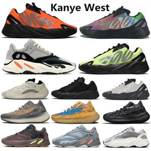 رخيصة جديد Kanye West 700 Orange Wave Runner Phosphor Mens Running Azael Alvah Alien Inertia Mauve Vanta Static Women Trainers Sneakers