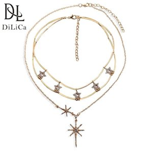 DiLiCa Trendy Crystal Choker Necklace for Women Rhinestone Star Pendant Necklace Ladies Layered Bib Necklaces Jewelry