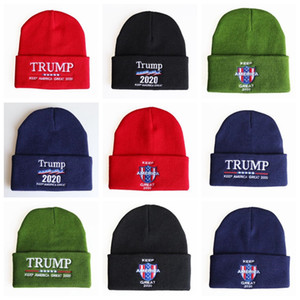 Trump Mützen stricken Winter Skullies Caps 20 Styles Donald Trump Wiederwahl Beanie Stickerei USA Flag Cap Lässige Mütze Winter-warmer Hut OOA8351