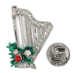 12шт много Clear Rhinestone Эмаль Арфа христианской музыки штыри броши булавки Рождественские украшения подарок C102175