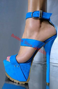 Sandalet Kadınlar Platformu Ayakkabı Seksi 16 CM Yüksek Topuklar Açık Burun Toka Nightclub Ayakkabı Abiye Topuklar