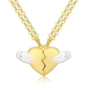 Latest Design Brass Palm Broken Heart Pendant Necklace for Couples Men 63cm Women 54cm Sold by Half