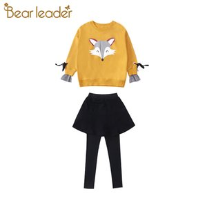 Bear Leader 4-13 Y Girls Sets 2020 Autumn New Fashion Kid Clothing Fox Cartoon Pattern Sweatshirt Top+Pant with Skirt 2cps Suit 0927