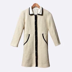 2020 Spring Summer Long Sleeve Lapel Neck Beigecontrast Color Tweed Panelled Buttons Short Mini Dress Women Fashion Dresses W1815072